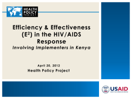 Efficiency & Effectiveness - International AIDS Society