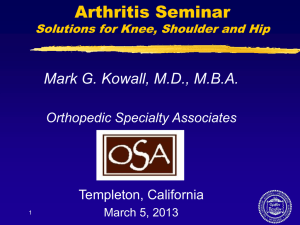 Arthritis Seminar, Solutions for Knee, Shoulder and Hip