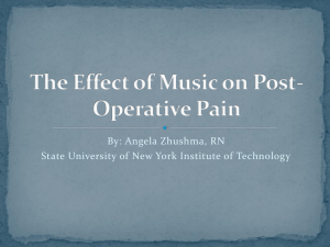 The effect of music on post-operative pain PP