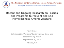 Homelessness Prevention and Rapid Rehousing for Veteran Families