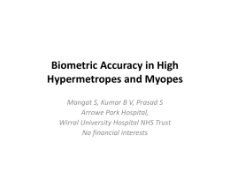 Cataract Surgery Outcomes In Myopia and Hypermetropia