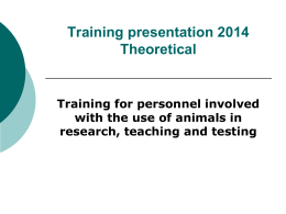 Training for personnel involved with the use of animals in research