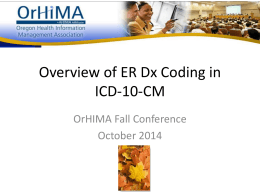 ER Dx Coding in ICD-10-CM