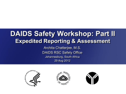 Expedited Reporting - DAIDS Regulatory Support Center