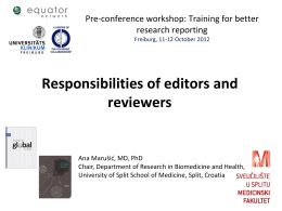 Responsibilities of editors and reviewers