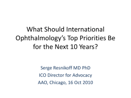 What Should International Ophthalmology`s Top Priorities Be for the