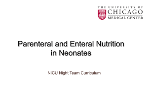 Parenteral/Enteral Nutrition in Neonates
