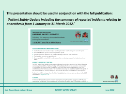 Patient Safety Update - The Royal College of Anaesthetists