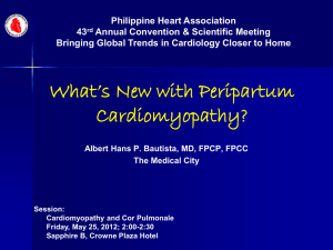 Peripartum Cardiomyopathy - Philippine Heart Association