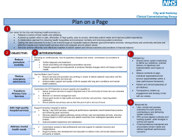 Plan on a Page - NHS City And Hackney CCG
