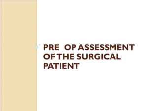 Pre Op Assessment of the Surgical Patient