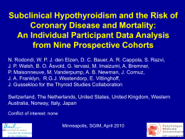 Subclinical Hypothyroidism and the Risk of Coronary Heart