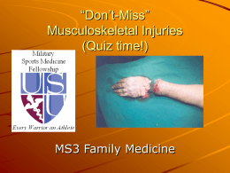 """Don`t Miss"" Musculoskeletal Quiz"