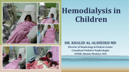 Hemodialysis in Children - Saudi Society of Nephrology
