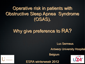 Operative risks of patients with OSAS. Why give preference to RA?