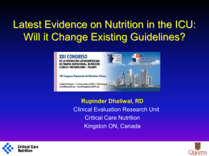 Latest Evidence on Nutrition in the ICU