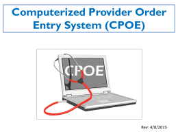 Essentials of CPOE