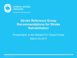 Presentation Overview - West GTA Stroke Network
