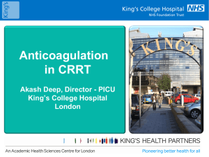 Anticoagulation - Pediatric Continuous Renal Replacement Therapy
