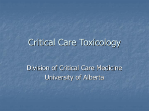 Critical Care Toxicology - Division of Critical Care
