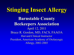Stinging Insect Allergy - Barnstable County Beekeepers Association