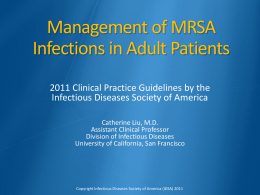 Management of MRSA - IDSA - Infectious Diseases Society of America