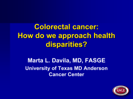 Colorectal cancer: How do we approach health disparities?
