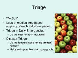 Pediatric and Adult Triage Principles for Large