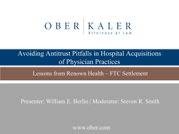 Avoiding Antitrust Pitfalls in Hospital Acquisitions of