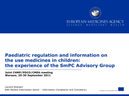 New SmPC guidance for paediatric information