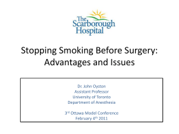 Stopping Smoking Before Surgery : Advantages and Issues
