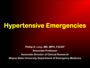 Hypertensive Emergencies: Optimal Therapy in the ED