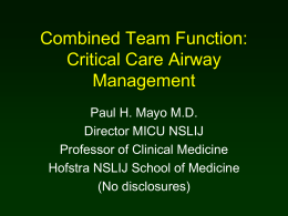 Critical Airway Management – Dr Mayo