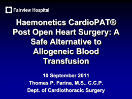 Haemonetics CardioPAT® Post Open Heart Surgery