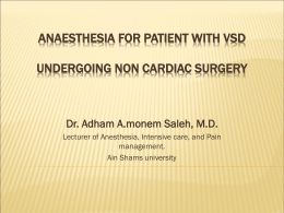 Anaesthesia for Acyanotic Congenital Heart Disease
