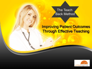 Teach Back Method - United Regional Health Care System