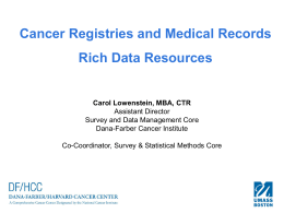 What Is a Cancer Registry? - University of Massachusetts Boston