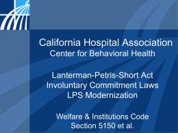 LPS Involuntary Commitment Laws Presentation