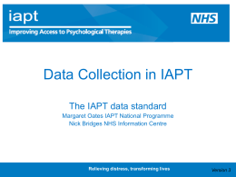 IAPT Data Standard Workshop Presentation