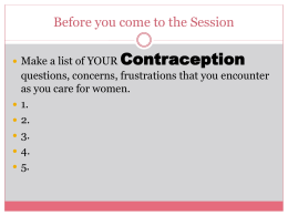 managing contraceptive complications 2009