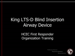 King Airway Power Point - Westfield Fire Department