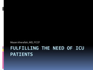 Fulfilling the needs of ICU patient
