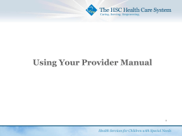 Using Your Provider Manual