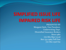 SIMPLIFIED ISSUE - Diversified Insurance Brokers