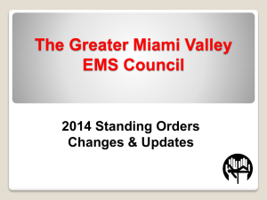 2014 Standing Orders Changes - Greater Miami Valley EMS Council