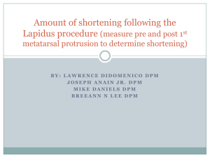 Amount of shortening following the Lapidus procedure (measure pre