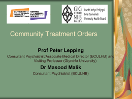 Community Treatment Orders - powerpoint -