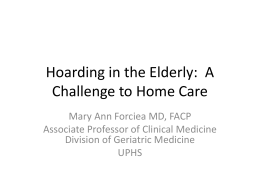 Hoarding in the Elderly