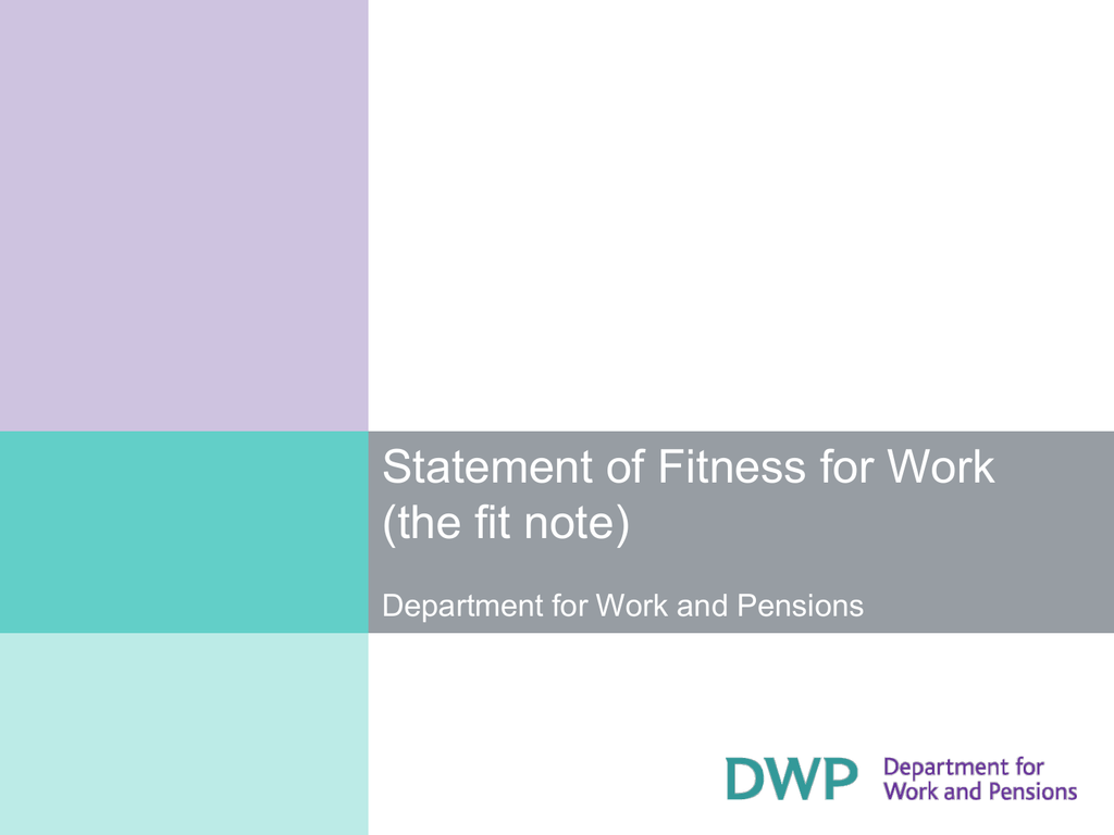 Statement of Fitness for Work the Fit Note – Fit Note