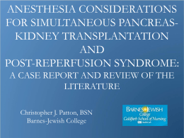 Anesthesia Considerations for Simultaneous Pancreas